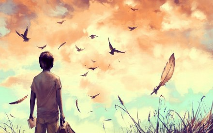 amine-drawing-art-boy-birds-feathers-nature-alone-field