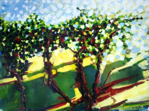 Vineyard, landscape art painting